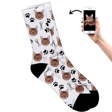 Personalised Cat on Socks