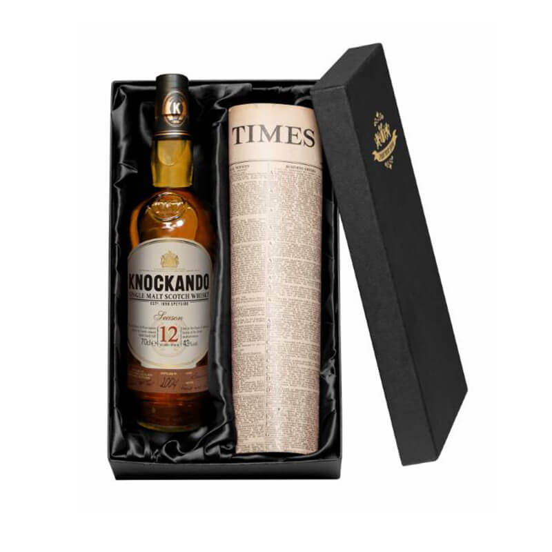 Malt Whisky and Newspaper in a Silk Lined Gift Box