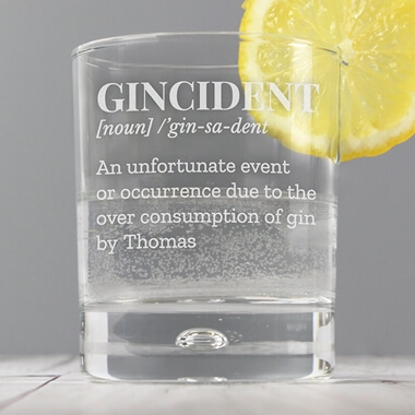 Personalised Gincident Tumbler Bubble Glass