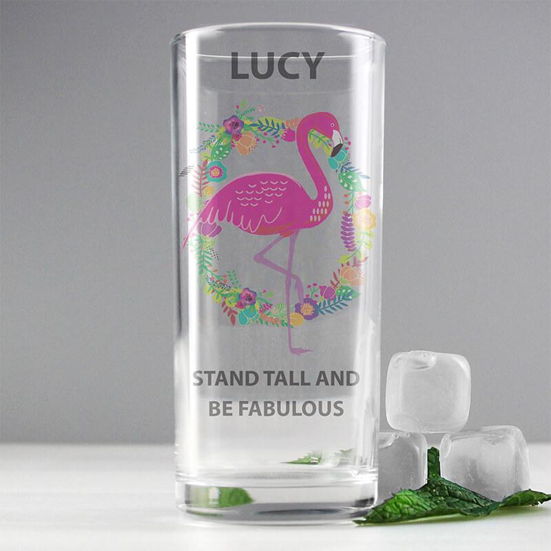 Personalised Flamingo Hi Ball Glass