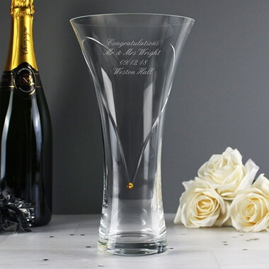 Personalised Large Hand Cut Gold Diamante Heart Vase with Swarovski Elements