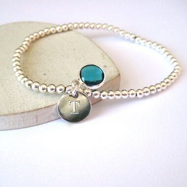 Personalised Engraved Mini Disc and Birthstone Bracelet