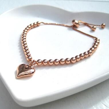 Rose Gold Plated Slider Ball Charm Bracelet