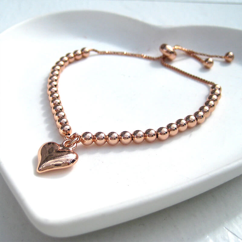Rose Gold Plated Slider Ball Charm Bracelet