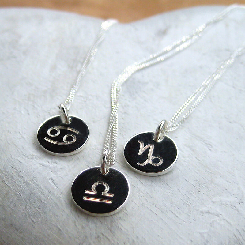 Zodiac Symbol Disc Necklace