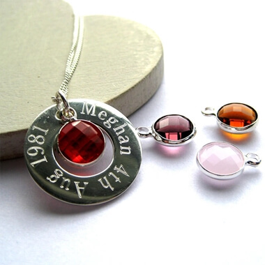 Personalised Eternity Birthstone Sterling Silver Necklace