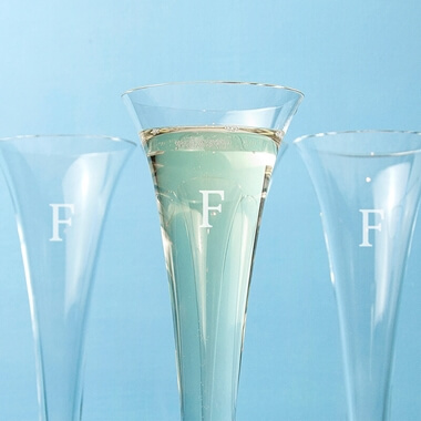 Personalised LSA Platinum Prosecco Flutes - Set Of 4