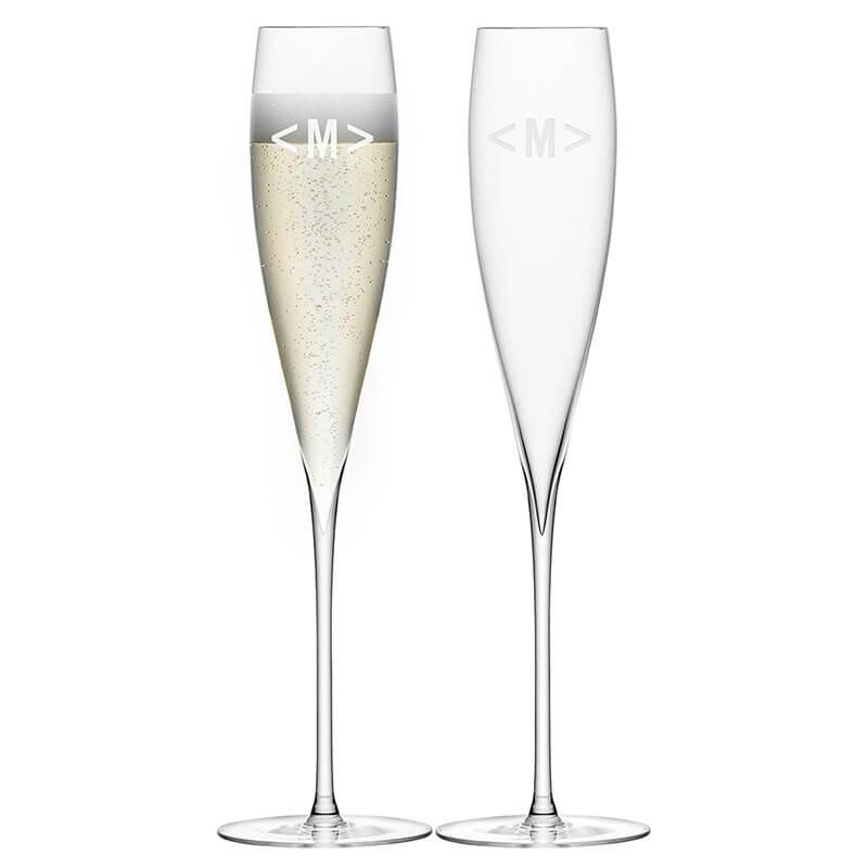 LSA Monogrammed Savoy Champagne Flutes