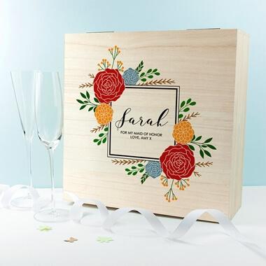 Personalised Vibrant Flower Frame Bridesmaid Box