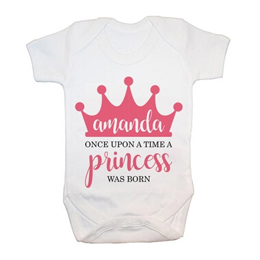 Personalised Once Upon A Time A Princess Was Born Baby Grow