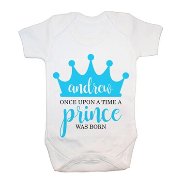 Personalised Once Upon A Time A Prince Was Born Baby Grow