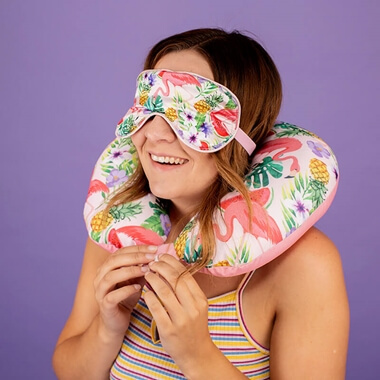 Fabulous Flamingo Neck Pillow And Eye Mask