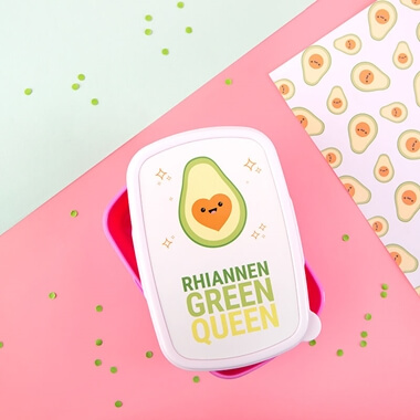 Personalised Avocado Green Queen Lunch Box