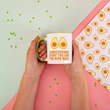 Personalised Avocado 'Start The Day' Mug