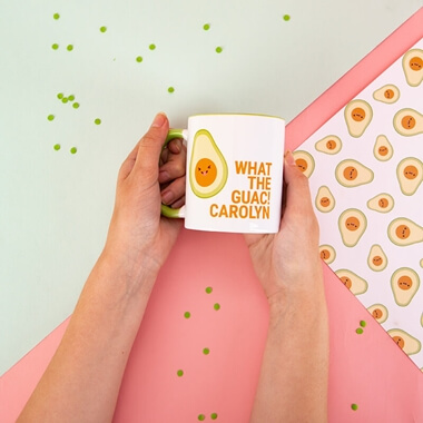 Personalised Avocado 'What The Guac' Mug