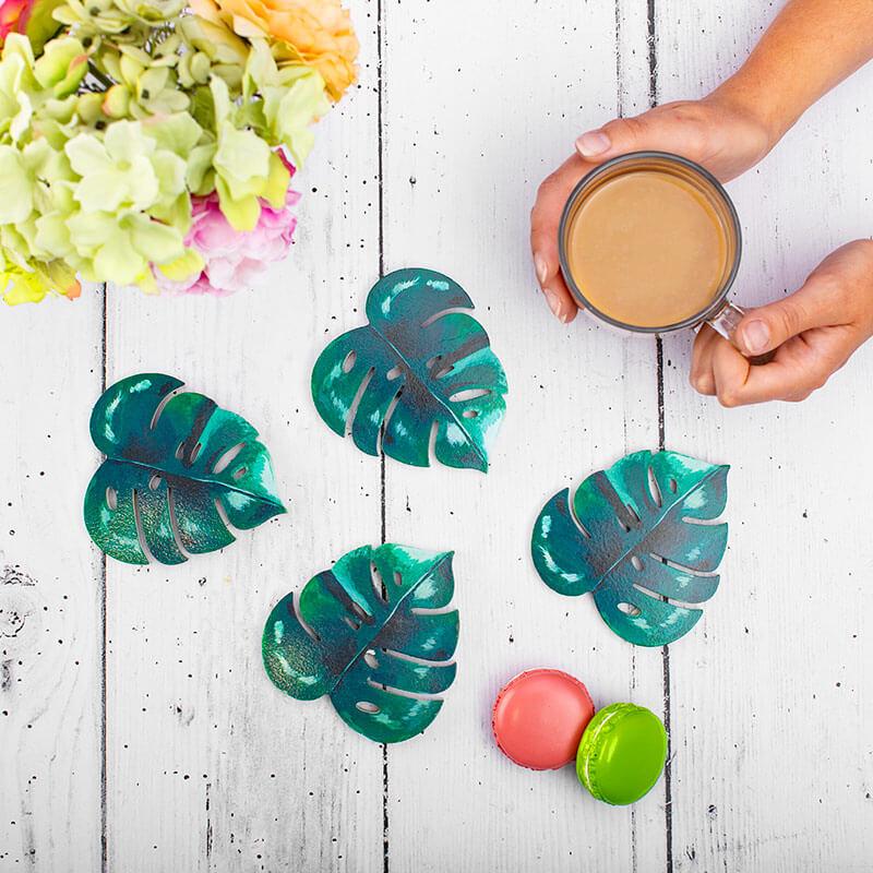 Botanical Jungle Leaf Coasters - Set Of 4