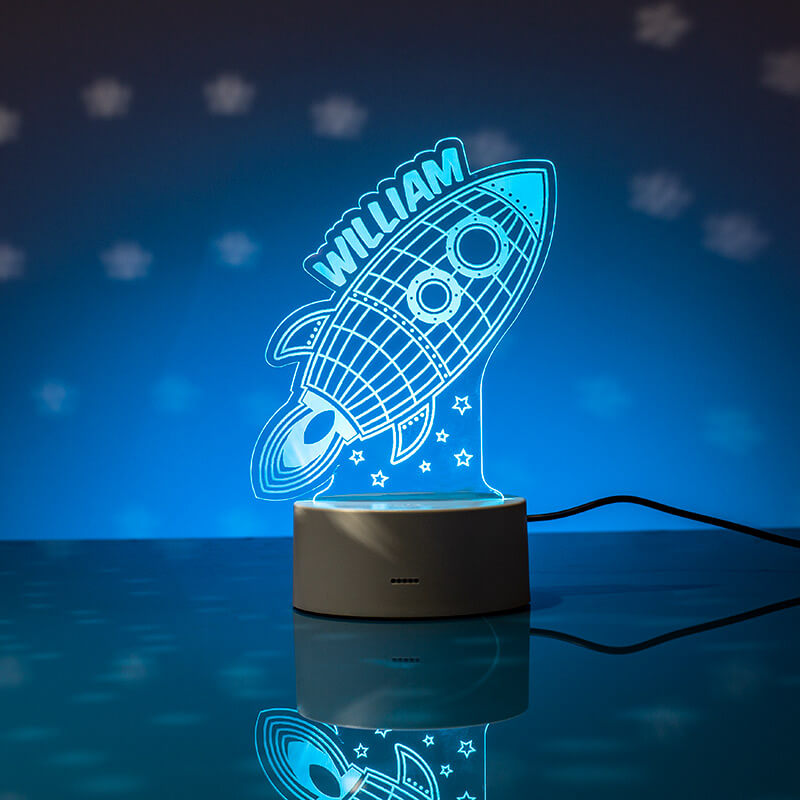 Personalised Rocket Led Colour Changing Night Light From Prezzybox