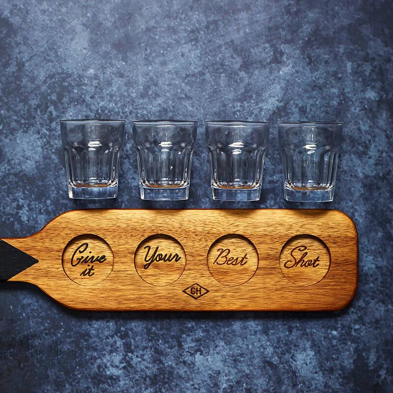 GH Shot Glasses & Serving Paddle