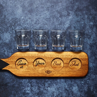 GH Shot Glasses & Serving Paddle