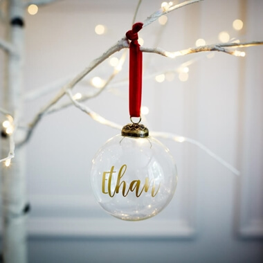 Personalised Clear Name Bauble