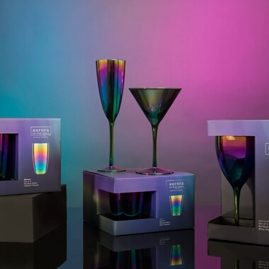 Aurora Oil Slick Champagne Glasses - Set Of 4