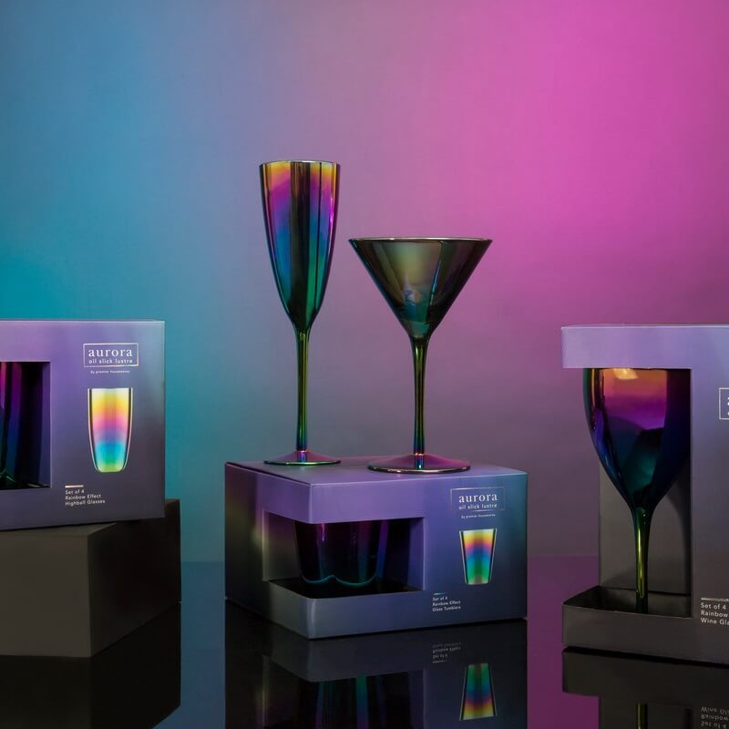 Aurora Oil Slick Champagne Glasses  Set Of 4