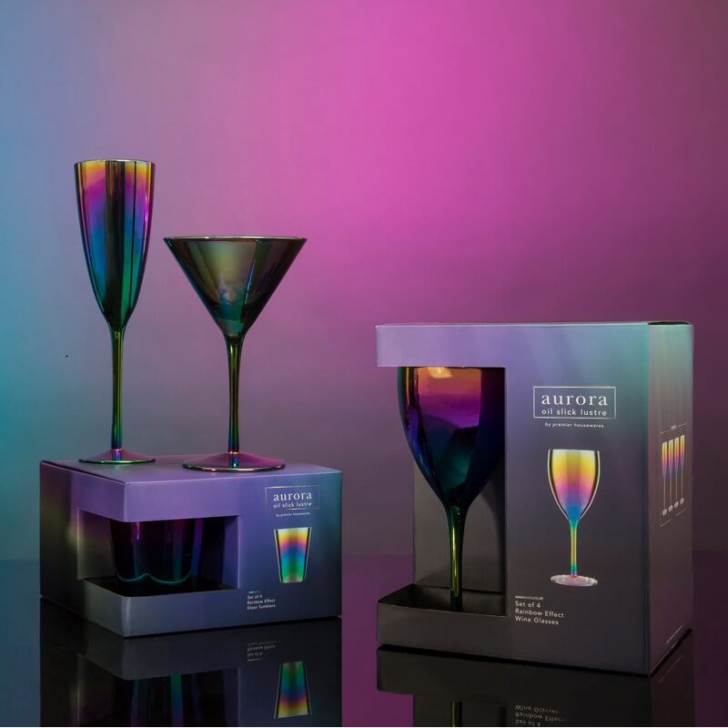 Aurora Oil Slick Wine Glasses - Set Of 4