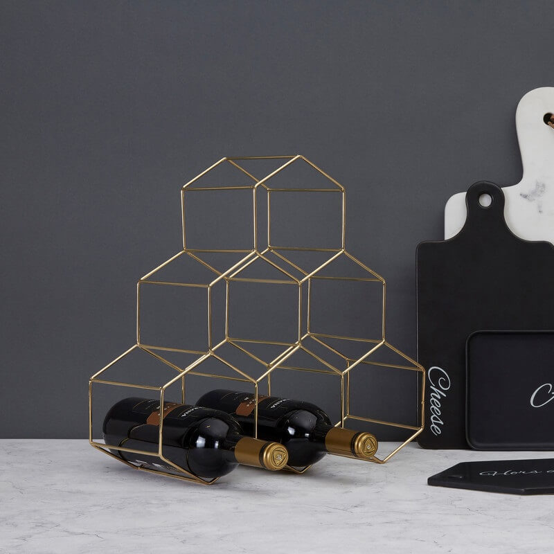 Vertex 6 Bottle Wine Rack - Gold