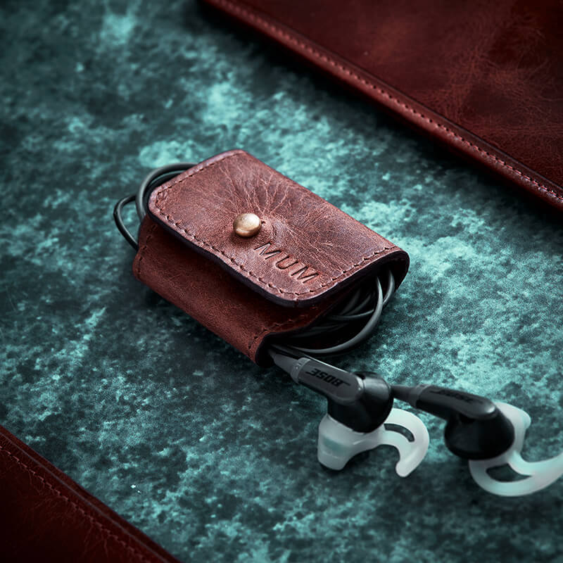 Personalised Leather Earphone Holder