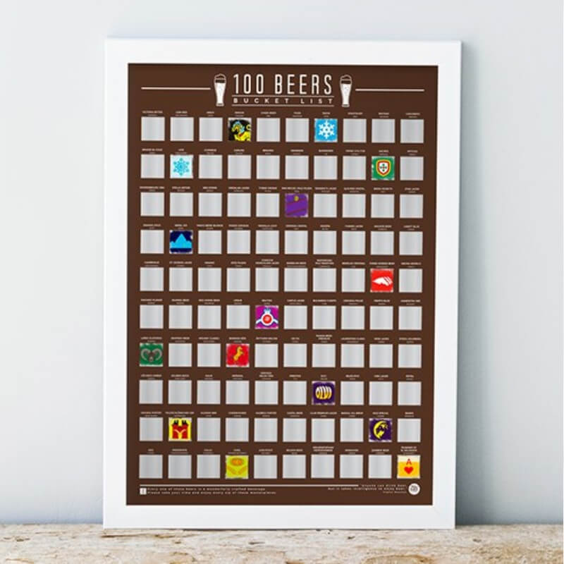 100 Beers Scratch Off Poster