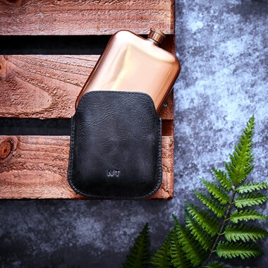 Personalised Leather Sleeve with Metal Hip Flask