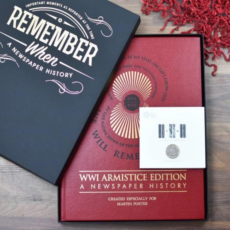 WWI Armistice Edition Newspaper Book & Royal Mint Coin
