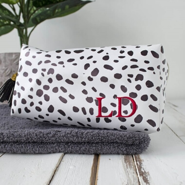Personalised Dalmatian Print Embroidered Wash Bag