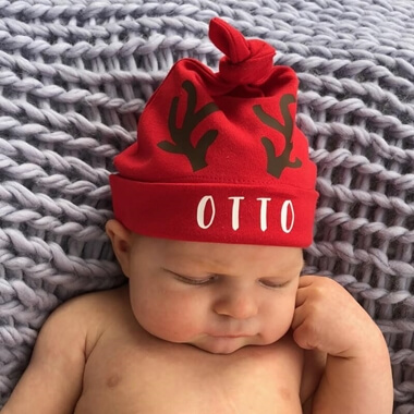Personalised Reindeer Baby Hat