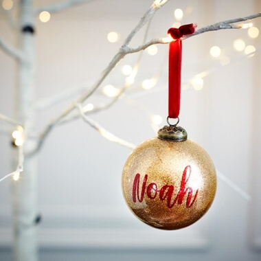 Personalised Gold Glitter Name Bauble