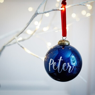 Personalised Blue Glitter Name Bauble