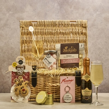 Personalised Festive Prosecco Wicker Gift Hamper