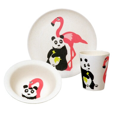 Bamboo Hungry Kids Set - Hungry Flamingo