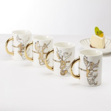 Maid In China Carousel Cup and Saucers - Set of 4