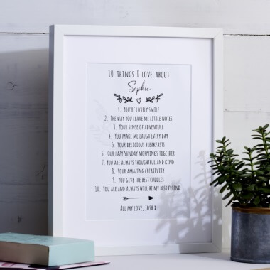 Personalised 10 Things I Love About You Print