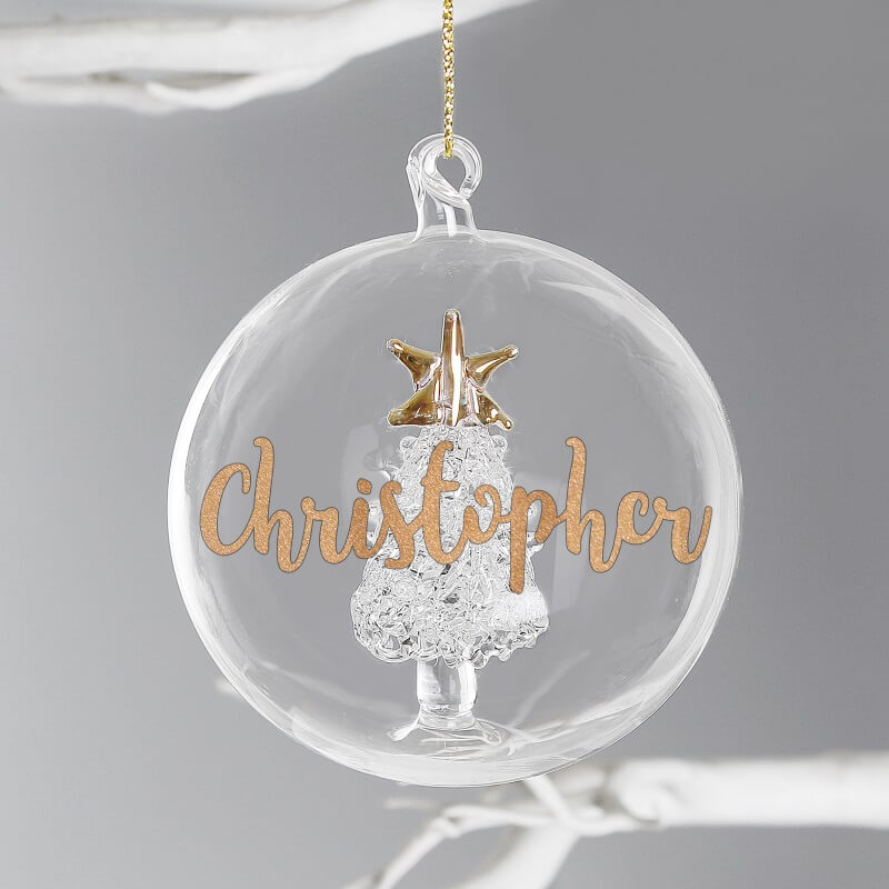 Personalised Name Christmas Tree Glass Bauble