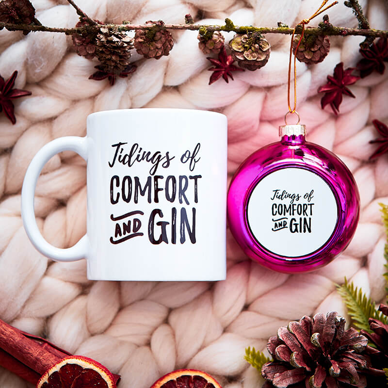 Tidings of Comfort and Gin Bauble & Mug Set
