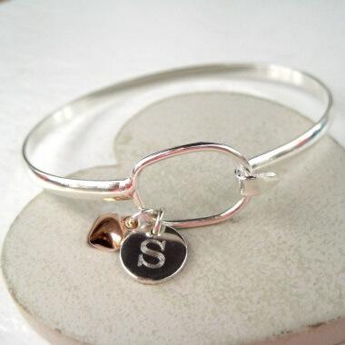 Personalised Silver Plated Loop Bangle