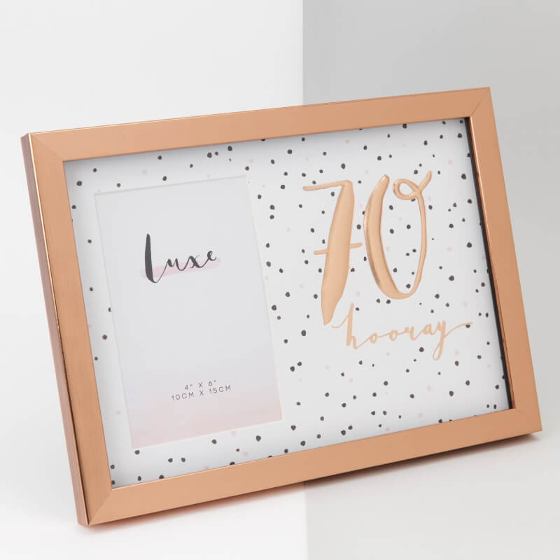 Rose Gold 70th Birthday Picture Frame
