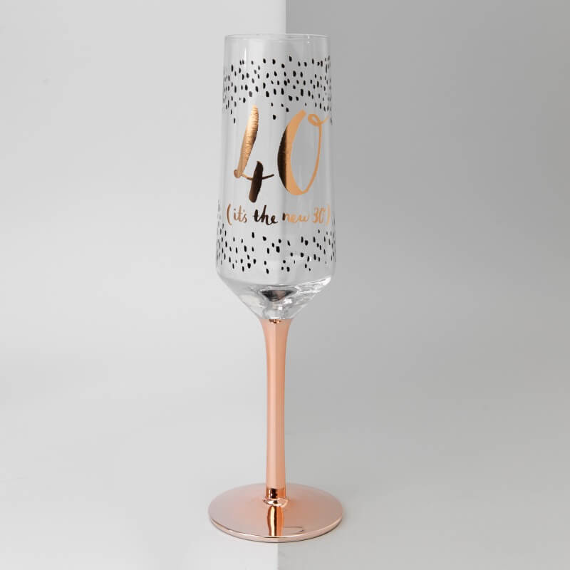 Luxe 40th Birthday Champagne Flute