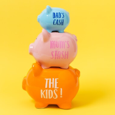 Dad's Cash Stacked Piggy Bank