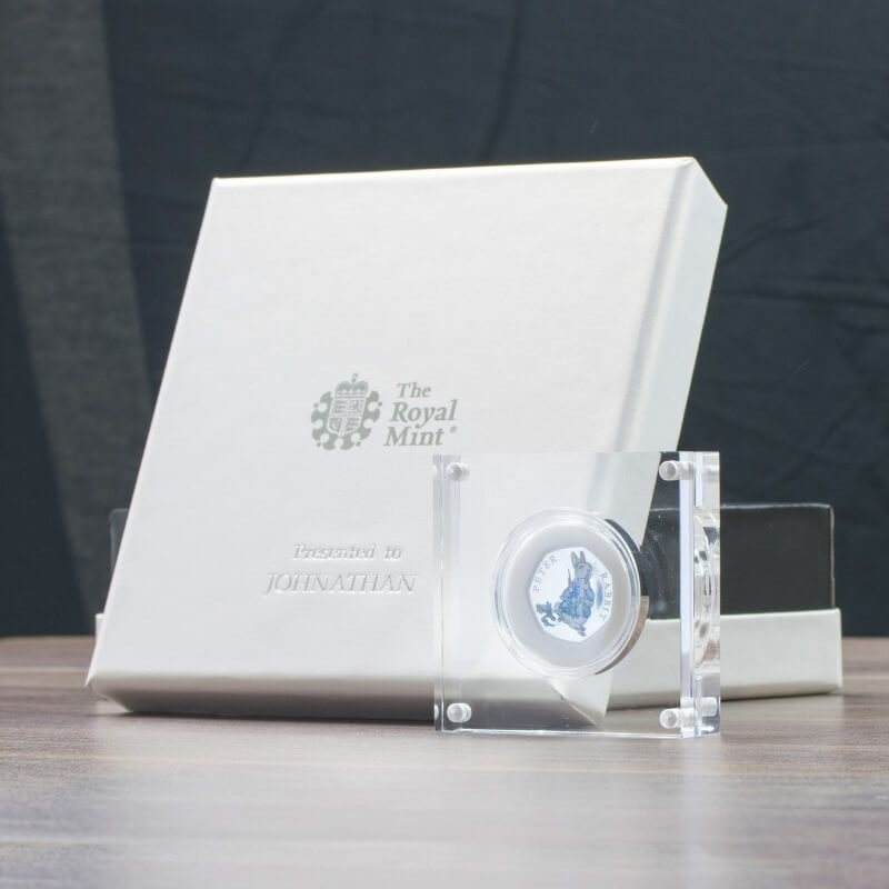 Personalised Peter Rabbit Silver Proof Fifty Pence Coin in a  Deluxe Box