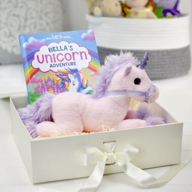 Personalised Unicorn Adventure Book and Plush Toy Gift Set