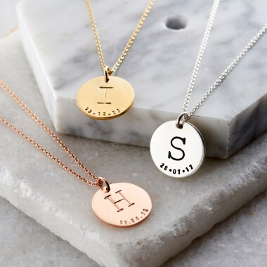 Personalised Initial Birth Date Disc Necklace