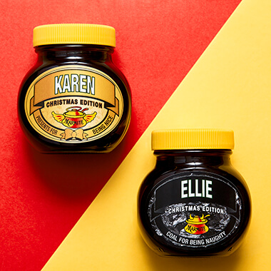 Personalised Christmas Naughty or Nice Marmite Jar
